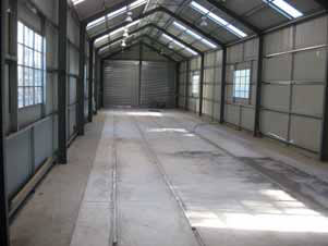 Internal view of Tramway shed showing new concrete floor